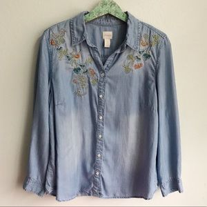 Chico's Sz 2 Embroidered Floral Chambray Top